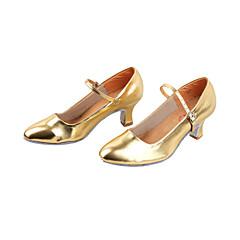Mulheres Sapatos de Dança Moderna / Dança de Salão Couro Ecológico Salto Salto Robusto Não Personalizável Sapatos de Dança Preto / Prateado / Dourado