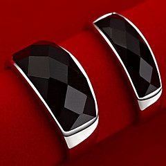 Z&X®ユニセックスのヴィンテージ黒瑪瑙のカップルリング(2個)