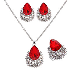 Women's Ruby Rhinestone Wedding Birthday Engagement Alloy Earrings Necklaces