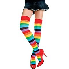 billige Moteundertøy-kvinners normale varme strømper, nylon spandex regnbue 1pc regnbuen