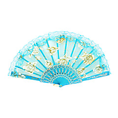 cheap Fans & Parasols-Gold Rose Pattern Lace Hand Fan Wedding Favors Classic Them Chic & Modern