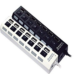 7-port høyhastighets USB 2,0 hub med uavhengig bryter og ledninger