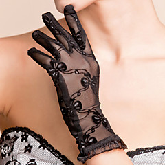 cheap Party Gloves-Lace Polyester Wrist Length Glove Classical Bridal Gloves Party/ Evening Gloves With Solid