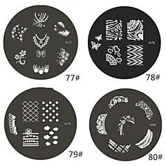 billige Neglestempling-1 Piece M Series Avrundet Abstract Design Nail Art stempel stemple bildet mal plate NO.77-80 (Assorted Pattern)
