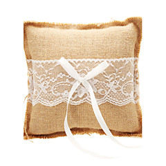 Wedding Ring Pillow In Beige Linen With Lace Wedding Ceremony