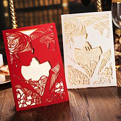 Bride&Groom Style Art Paper Side Fold Wedding Invitation-Set Of 50(More Colors)