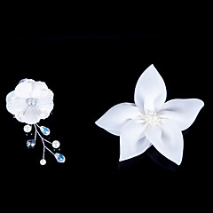 cheap Party Headpieces-Satin Flowers With Imitation Pearl Wedding/Party Headpiece (Set Of 2)