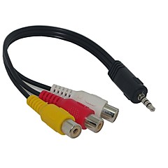 baratos -3.5mm plug para 3 RCA Adaptador AV Cable Audio Video 20 centímetros