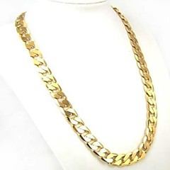 cheap Men's Necklaces-Men's Cuban Link Chain Necklace - Gold Plated Personalized, Classic, Fashion, Street chic Gold Necklace Jewelry 1pc For Daily, Casual, Sports, Valentine