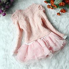 billige Tøjsæt til piger-Baby Pige Sød Daglig Ensfarvet Blonder / Perler Langærmet Bomuld Tøjsæt Beige 100
