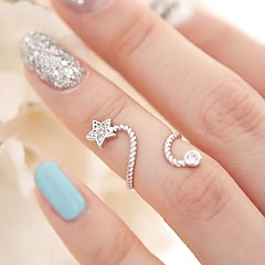 Statement Rings Alloy Simulated Diamond Star Birthstones Silver Golden Jewelry Party Daily Casual