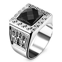 Men's Women's Statement Rings Love Personalized Costume Jewelry Stainless Steel Acrylic Imitation Diamond Square Geometric Jewelry Jewelry
