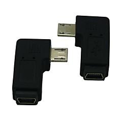 preiswerte -rechts / links gewinkelt 90 Grad Micro-USB-Stecker auf Buchse Verlängerungsadapter conventer