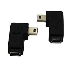 preiswerte -rechts / links gewinkelt 90 Grad Mini-USB-Stecker auf Buchse Verlängerungsadapter conventer