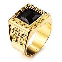 Men's Statement Rings Black Gemstone Personalized Love Stainless Steel Acrylic Gold Plated 18K gold Square Geometric Jewelry For Wedding