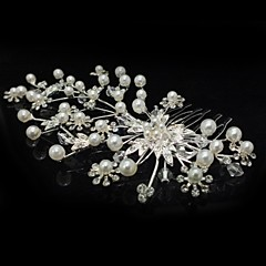 cheap Personalized Jewelry-Crystal Cubic Zirconia Fabric Alloy Tiaras Hair Combs Flowers 1 Wedding Party / Evening Headpiece