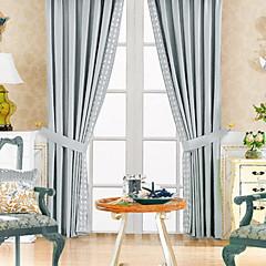 tanie Akcesoria okienne-dwa panele klasyczna mieszanka poliestru bawełny niebieski oszczędność energii kurtyny