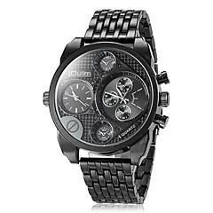 Oulm 男性用 軍用腕時計 リストウォッチ クォーツ 日本産クォーツ 2タイムゾーン ステンレス バンド ぜいたく ブラック ブラウン ブロンズ