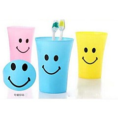 olcso -Multi-function Smile Face Plastic Toothbrush Cup 250ML(Random Color)