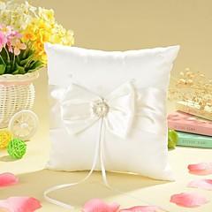 anel travesseiro em cetim de marfim com arco e cerimônia de casamento de pérola falsa