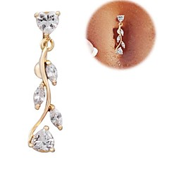 Lureme®Fashion Gold-plated 316L Surgical Titanium Steel Zircon Willow Leaf Pendant Navel Ring Christmas Gifts
