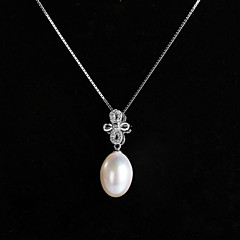 cheap Necklaces-Women's Shape Pearl Sterling Silver Silver Special Occasion Costume Jewelry