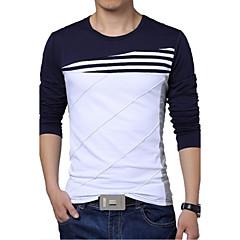 Tee-shirt Grandes Tailles Homme, Rayé / Couleur Pleine - Coton Mosaïque Sports Actif Col Arrondi Mince Noir & Blanc / Manches Longues