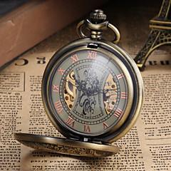 男性用 懐中時計 機械式時計 手巻き式 透かし加工 合金 バンド ビンテージ ラグジュアリー ブロンズ