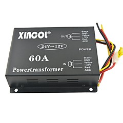 cheap Automotive Equipment & Tools-Xincol® Vehicle Car DC 24V to 12V 60A Power Supply Transformer Converter with Dual Fan Regulation-Black