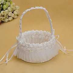 cheap Wedding Ceremony-Pretty Wedding Flower Basket With White Organza Rose Flower Girl Basket