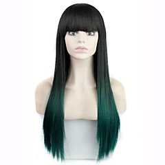 cheap Wigs & Hair Pieces-Synthetic Wig Women's Straight / Curly Black Layered Haircut Synthetic Hair 30 inch Waterfall Black / Multi-color Wig Long Full Lace / Capless