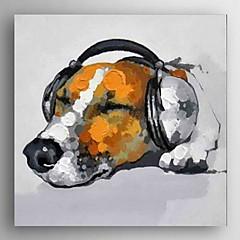 oliemaleri moderne abstrakt hund med musik håndmalede lærred med strakte ramme