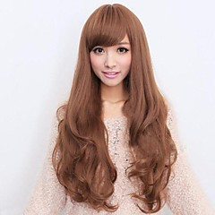 cheap Wigs & Hair Pieces-Synthetic Wig Women's Curly / Wavy / Body Wave Brown Asymmetrical / With Bangs Synthetic Hair 25 inch Natural Hairline Brown Wig Long Capless Gold / Brown