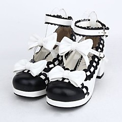 cheap Lolita Footwear-Lolita Shoes Sweet Lolita Dress Lolita High Heel Shoes Bowknot 4.5 CM Black For PU Leather/Polyurethane Leather
