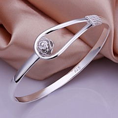 cheap -925 Silver Simple Flower Shape Bangles(1pc) Jewelry