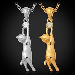 נשים שרשראות תליון אבן נוצצת מצופה פלטינום ציפוי זהב סגסוגת תכשיטים תכשיטים עבור חתונה Party יומי קזו'אל ספורט