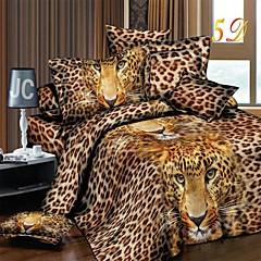 dekbedovertrek set, 3d realistische luipaard gedrukt beddengoed set 4 stuks dekbedovertrek vel kussensloop