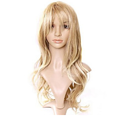 cheap Wigs & Hair Pieces-Synthetic Wig Women's Curly / Loose Wave / Natural Wave Golden Layered Haircut Synthetic Hair 22 inch Natural Hairline Golden Wig Long Capless Light Blonde