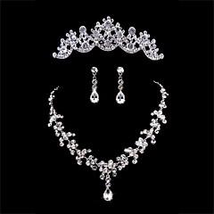 Takı Seti Kadın's Yıldönümü / Düğün / Nişan / Doğumgünü / Hediye / Özel Anlar Mücevher Setleri alaşım Yapay ElmasKolyeler / Kolczyki /
