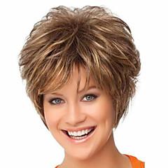 Χαμηλού Κόστους Περούκες μόδας-Συνθετικές Περούκες Ίσιο / Σγουρά Κούρεμα νεράιδας / Με αφέλειες Συνθετικά μαλλιά Καφέ Περούκα Γυναικεία Κοντό Χωρίς κάλυμμα Καφέ