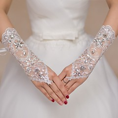cheap Party Gloves-Lace Elbow Length Glove Bridal Gloves Party/ Evening Gloves Flower Girl Gloves With Rhinestone Sequin