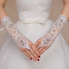 Kant Ellebooglengte Handschoen Bruidshandschoenen Feest/uitgaanshandschoenen Bloemenmeisjeshandschoenen With Strass Pailletten
