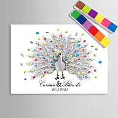 cheap Guest Book & Pen Sets-E-HOME® Personalized Fingerprint Painting Canvas Prints - Peacock Hand Drawing (Includes 12 Ink Colors)