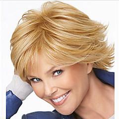 billiga Peruker och hårförlängning-Syntetiska peruker Rak Asymmetrisk frisyr Syntetiskt hår Naturlig hårlinje Guld Peruk Dam Mellanlängd Kostym Peruk / Naturlig peruk Utan