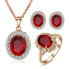 T&C Women's Ruby Jewelry 18K Rose Gold Plated with Rhinestones Red Crystal Pendant Necklaces Earrings Ring Sets