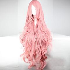 billiga Peruker och hårförlängning-Syntetiska peruker / Kostymperuker Vågigt Asymmetrisk frisyr / Med lugg Syntetiskt hår Med Bangs Rosa Peruk Dam Lång Cosplay Peruk /