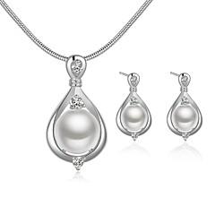 tanie Zestawy biżuterii-Damskie Zestawy biżuterii Cyrkonia Pearl imitacja Perłowy Srebrny Kropla Modny Impreza Specjalne okazje Codzienny Náušnice Naszyjniki