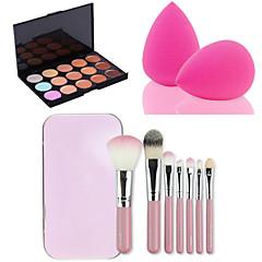 15 cores face facial contorno corretivo creme paleta + 7pcs rosa escovas caixa de maquiagem kit + pó de sopro