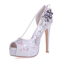 Elől kivágott Lábujj - Stiletto - Női cipő - Szandál - Esküvői / Party és Estélyi - Csipke -Fekete / Kék / Rózsaszín / Piros /