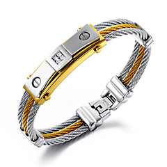 cheap Men's Bracelets-Men's Layered Chain Bracelet - 18K Gold Plated, Stainless Steel, Gold Plated Personalized, Luxury, Hip-Hop, Multi Layer Bracelet Jewelry Gold / Silver For Christmas Gifts Wedding Party Daily Casual